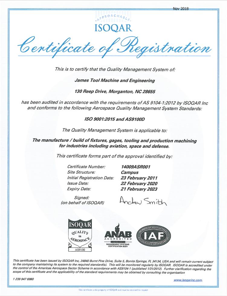 AS9100D-ISOQAR-2023 Certification